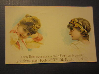 Old 1880's PARKER'S GINGER TONIC - Medicinal Victorian Trade Card - Hiscox N.Y.