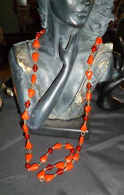 """Antique Art Deco-1930 Vintage Bright Red Glass Bead Chain Flapper Necklace 36"""""""