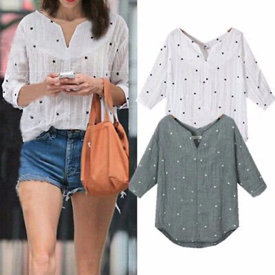 Summer Women Long Sleeve V Neck Star Print Loose Blouse Shirt Tops T-Shirt Tee