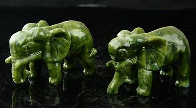 A pair 100% China natural jade hand-carved statues of elephant very good