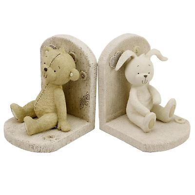 Button Corner Resin Nursery Bookends Bear & Rabbit Design