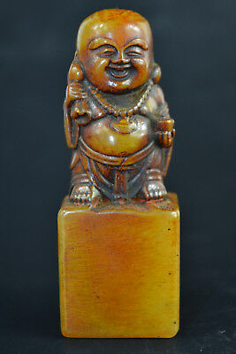 China Collectible Old REAL Jade handwork Carved BUDDHA CARRY BAG seal statue