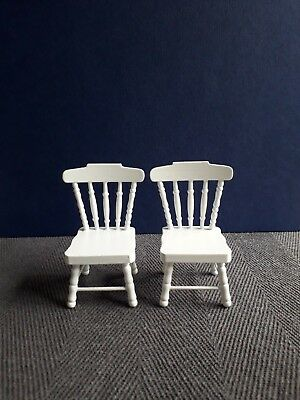 Dolls House Furniture:  Set of White Wooden Chairs in 12th scale