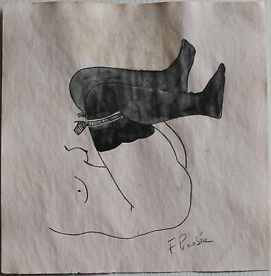 Pencil drawing watercolor signed FRANCIS PICABIA