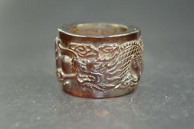 Collectible China amber old handwork Carving dragon wonder Ring