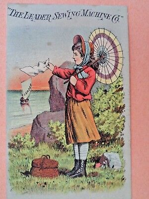 Leader Sewing Machine Millinery F.l.bodwelltrade Card Manchester,new Hampshire