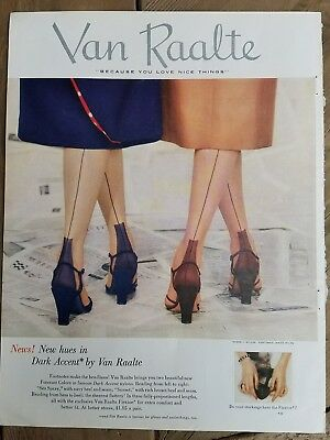 1951 women's Van Raalte dark accent Hosiery stockings new Hues seams fashion ad
