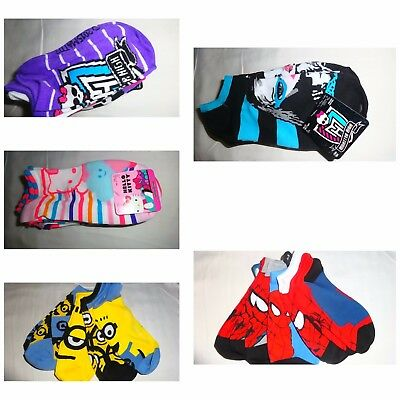 5 Pair Kids' Socks Hello Kitty Monster High Spiderman Minions NWT
