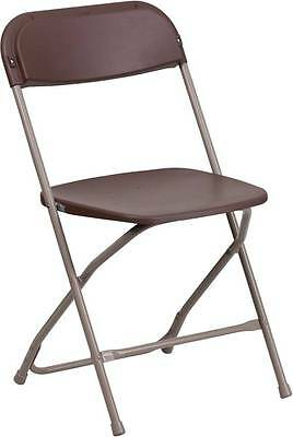 Lot Of 30 Hercules Series 650 Lb. Capacity Premium Brown Plastic Folding Chairs