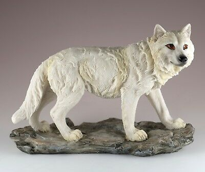"White Wolf Figurine Statue 8.25"" Long Resin New In Box!"