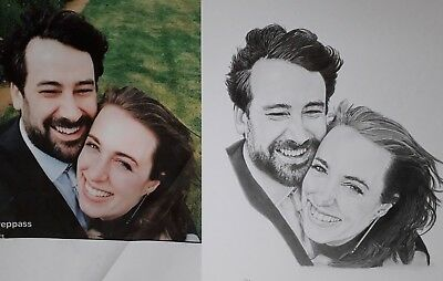 CUSTOM Commission Portrait Original Pencil Hand-Drawn Drawing from your photos