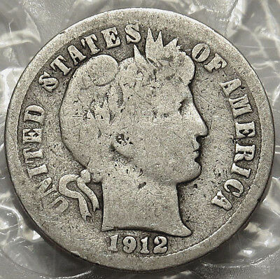 1912-D Barber Silver Dime. Good/very Good Coin. Bold Date & Mm.  #646