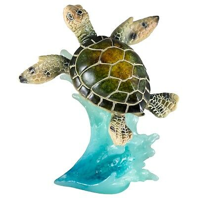 Green Sea Turtle On Wave Figurine 4.75 Inch High Resin New In Box!