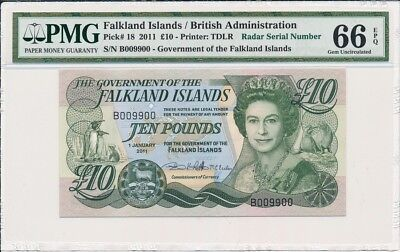Government Of The   Falkland Islands  10 Pounds 2011  PMG  66EPQ