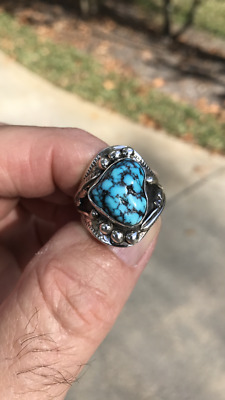 Navajo JOE CHEE Ring (Younger Brother of MARK CHEE) Natural Kingman Turquoise