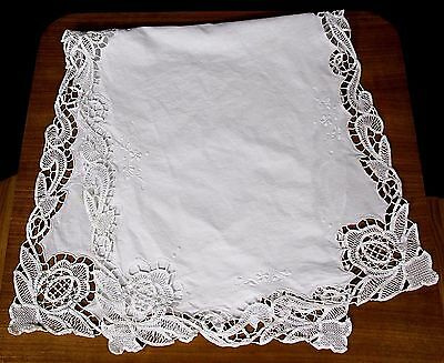 Vtg White Cotton Embroidered Battenburg Lace Dresser Scarf Table Runner
