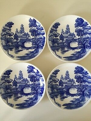 LOT 4 Vintage Nasco Hand Painted Blue Lakeview Japan Saucers