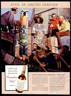 1938 Sitka Alaska totem pole photo Canadian Club whisky vintage print ad