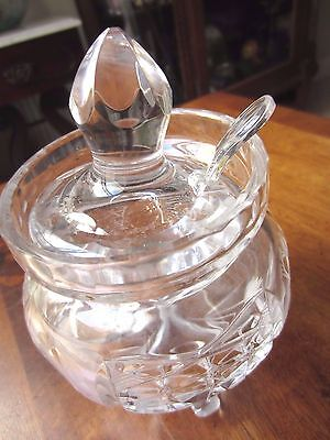 "Vintage Pressed Footed Glass Condiment/Jelly Jar with lid & spoon, 7"" tall x 4"""