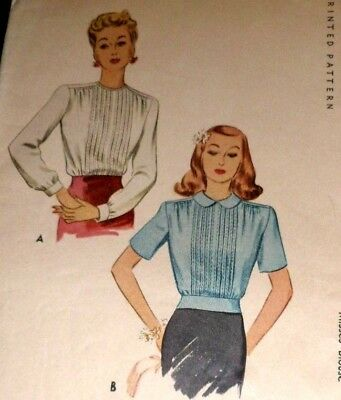 """VTG 1940s McCall Sewing Pattern Pleated Blouse Bust 32"""""""