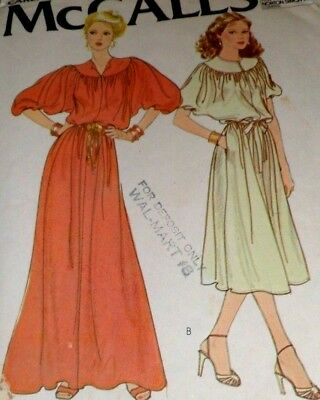 VTG 70s McCall's Sewing Pattern 6442 Yoked Dolman Sleeves Dress Miss Size