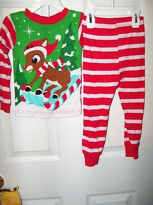 Rudolph The Red Nosed Reindeer Stripe Toddler 2 Piece Long Pajama PJ Size  3T NWT ca16cfc88