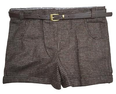 Girls Check Glitter Tweed Checked Wool Style Shorts with Belt 5 to 10 Years