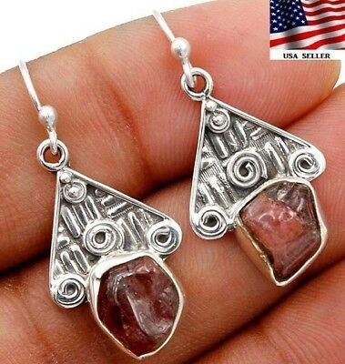 Pink Rough Tourmaline 925 Solid Genuine Sterling Silver Earrings Jewelry  S4-1