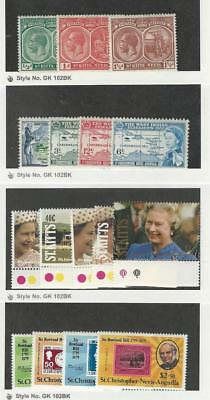 St. Kitts & Nevis, Postage Stamp, #37-8, 41, 135-8 Mint LH, 332-6, 684-7 Mint NH