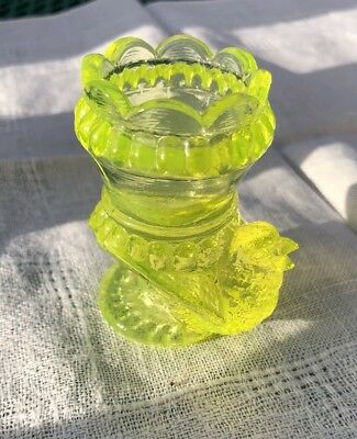 Vaseline Yellow Antique Glass Turkey Toothpick Holder