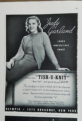 1940 Tish-u-knit women's sweaters cardigan by Leon Judy Garland photo ad