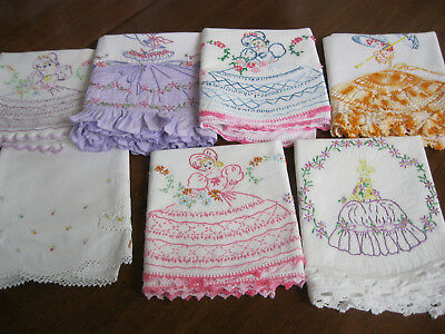 PRETTY  LOT OF *7* VINTAGE HAND EMBR./APPLIQUE/CROCh PILLOWCASES-SOUTHERN BELLES