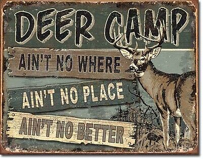 Deer Camp Sign Hunting Vintage Rustic New Metal Tin Advertising Made in USA