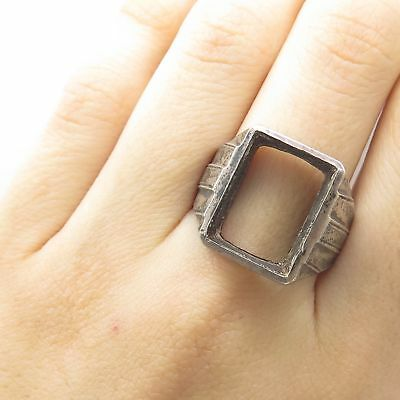 Antique 925 Sterling Silver Wide Signet Ring Size 10