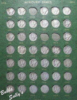 Nearly Complete Set of Mercury & Roosevelt Dimes 1916-1964 in Whitman Album