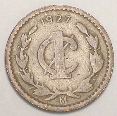 1927 Mexico Mexican One 1 Centavo Eagle Coin Spot