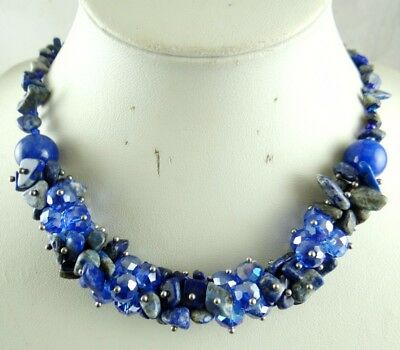 Natural lapis lazuli beads &Crystal Ladies Handmade Gemstone Necklace Jewellery