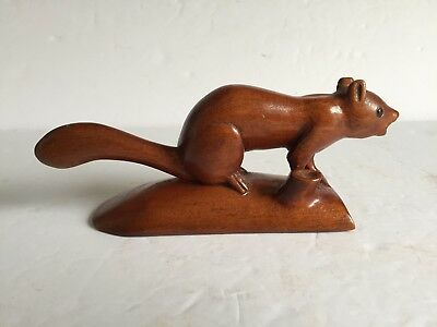 Vntg Artist Signed Folk Art WiIliam Van Leeuwen Hand Carved Wood SQUIRREL Figure