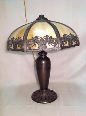 Handel Arts And Crafts Table Lamp & Leaded Stained Slag Glass Shade Tiffany Era