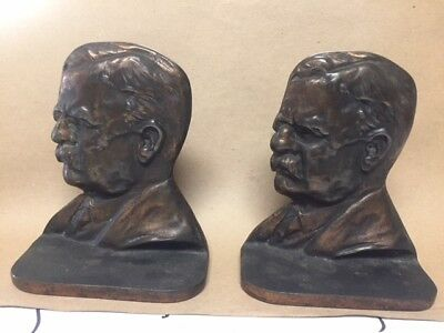 1926 Theodore Rosevelt Bronze Book Ends- Very Nice