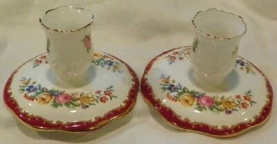 Pair Of Crown Staffordshire Bone China Candlestick Holders