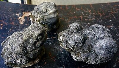 3 Tiny Frogs Toads Authentic Old Antique Vintage Cement Concrete Garden Statue