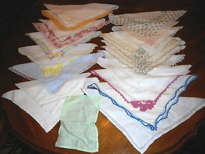 Handkerchiefs Lot Of 22 Assorted Vintage Lace Crocheted Embroidered Floral