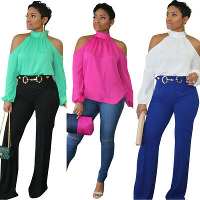 Summer Sexy Womens Halter Cold Shoulder Long Sleeve Solid Casual T-Shirt Tops