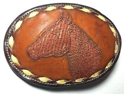 Vintage TONY LAMA Belt Buckle # 4804 Leather & Metal Embroidered Horse Stitch