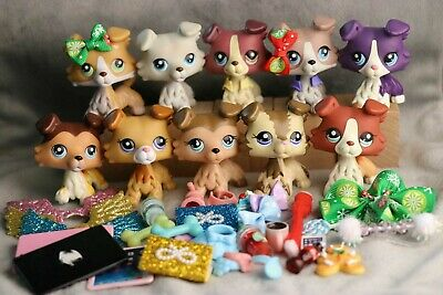 10 Lot of LPS Clothes Skirt Accessories Phone Necklaces Hat + 1 Collie Random