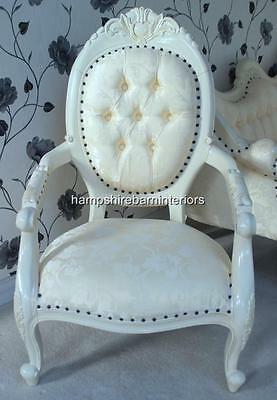 Chair W Arm Painted In French Antique White Ornate Carved  Free Delivery
