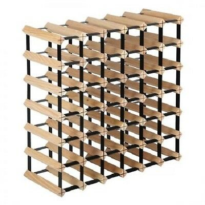 NEW 42 Bottles Capacity Timber Pine Wood and Steel Wine Storage Display Rack