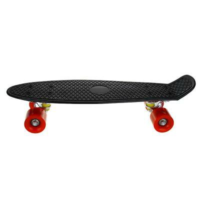 22 inch Retro Skate Board Skate Skater Complete Deck with PC Wheels  black