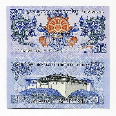 Bhutan 1 Ngultrum 2006 UNC Banknote Money x 10 Piece Lot - P27